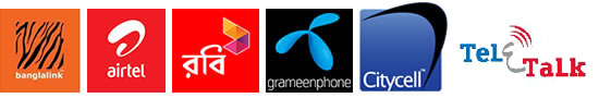 We support GrameenPhone, Banglalink, Robi, Airtel, Citycell and Teletalk